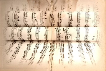 Musical score with old texture
