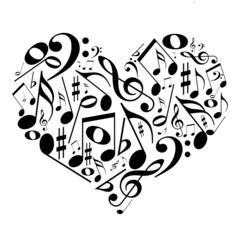 Coração com notas musicais - gosto pela música