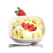Sweet cottage cheese gnocchi with sour cream and strawberries