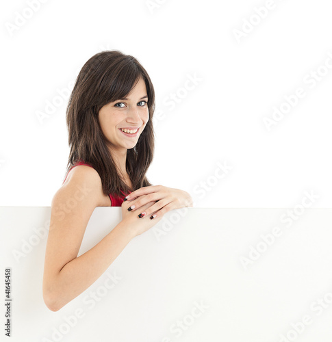 Girl holding blank board