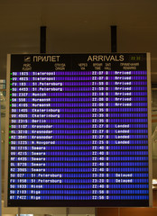 Airport arrivals information board