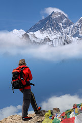 Man in front of Mt Everest, Nepal