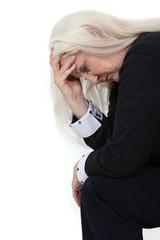 Elderly woman grieving