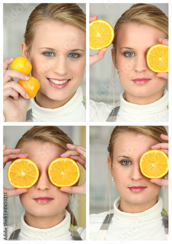 Blonde girl with orange