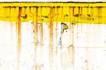 Grungy Old Wall With Rusty Yellow Paint