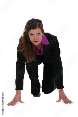 Businesswoman on her marks