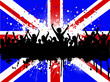 Grunge crowd on a Union Jack Flag background