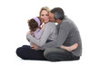 woman posing with loving husband and daughter