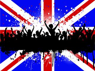 Grunge crowd on a Union Jack Flag background