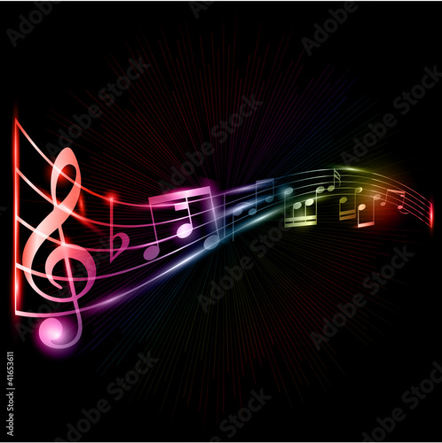 Neon music notes background
