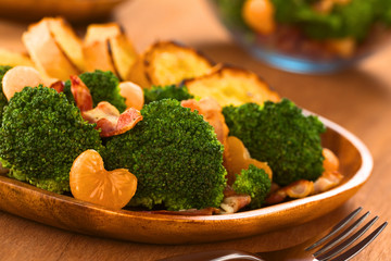 Fresh homemade broccoli, mandarin and bacon salad