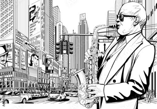 Naklejka saksofonista na ulicy w Nowym Jorku
