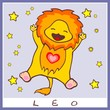 baby birth greeting card with starsign leo