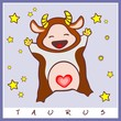 baby birth greeting card with starsign taurus