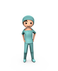 3D Person Young Doctor Wearing Scrubs on White