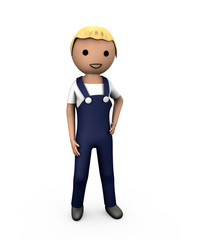 3D Blue Collar Workman in Overalls on White
