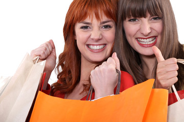 Two female friends with shopping bags