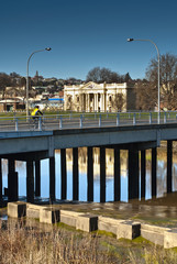 Cyclist on bridge, Launceston, Tasmania, Australia