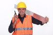 craftsman talking on his walkie talkie