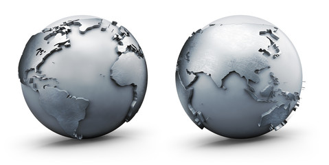 Metallic earth globe, isolated on white