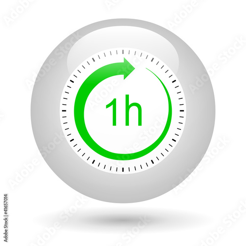Leinwandbild Motiv Bouton icône 1 heure