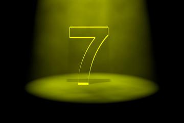 Number 7 illuminated with yellow light