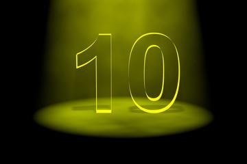 Number 10 illuminated with yellow light
