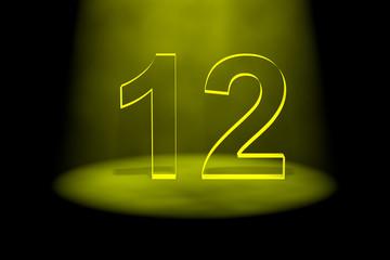 Number 12 illuminated with yellow light