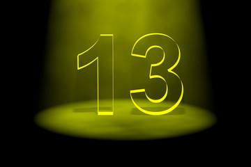 Number 13 illuminated with yellow light