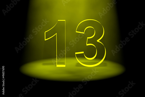 Number 13 illuminated with yellow light