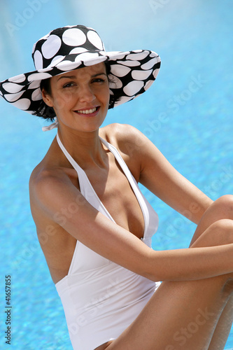 Attractive woman at a poolside