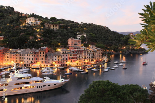 Portofino and Lingurian Sea at twilight, Italy