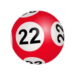 Tirage loto, boule numéro 22