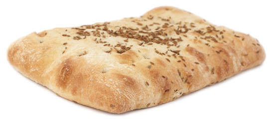 Turkish bread with sesame seeds over the white background