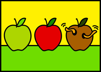 Illustration of three apples with different stages of ripeness