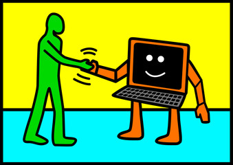 Iconic illustration of a man figure shaking hand with a computer