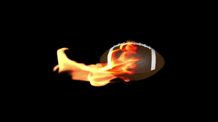 American football on fire, loop