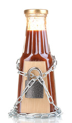 Secret ingredient with chain and padlock isolated on white