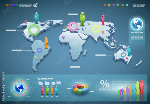 Vector world infographics set.