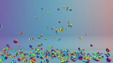 Colorful Objects Falling and Summer Time text