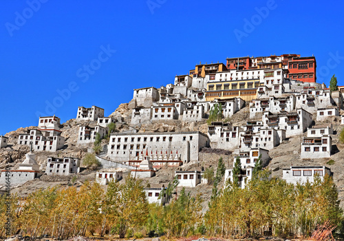 wide shot of thiksey monastery in leh, Ladakh, India