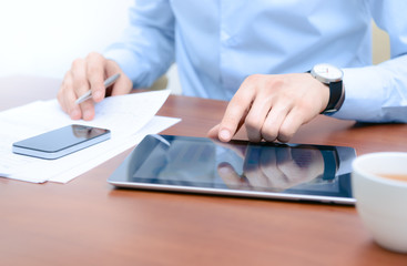 Businessman working with new technologies