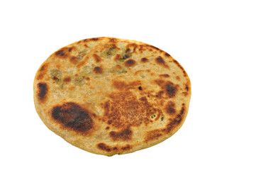 "indian stuffed fried bread ""parantha"" on white"