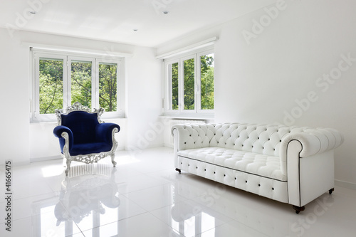 leather sofa, armchair classical, in white room