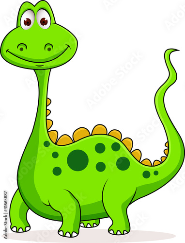 Keuken foto achterwand Dinosaurs Cute green dinosaur cartoon