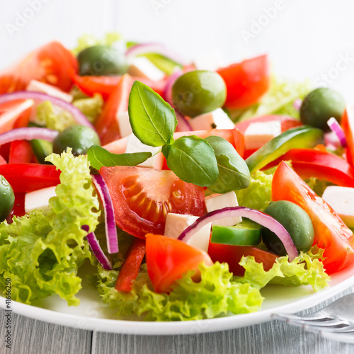 Plexiglas Salade Vegetable Salad with Feta Cheese and Green Olives