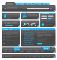Web designers toolkit. Blue Dark Design elements collection.