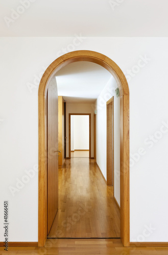 new classic house, interior,arched door