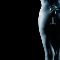nude woman and wine