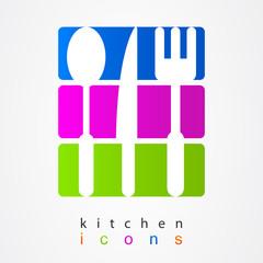 Colorful collection kitchen appliances.